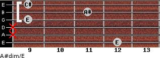 A#dim/E for guitar on frets 12, x, x, 9, 11, 9