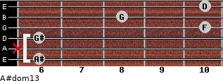 A#dom13 for guitar on frets 6, x, 6, 10, 8, 10