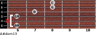 A#dom13 for guitar on frets 6, x, 6, 7, 8, 8