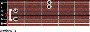 A#dom13 for guitar on frets x, 1, x, 1, 3, 3