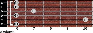 A#dom6 for guitar on frets 6, 10, 6, 7, 6, 6