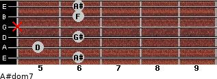 A#dom7 for guitar on frets 6, 5, 6, x, 6, 6