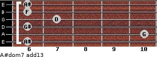 A#dom7(add13) for guitar on frets 6, 10, 6, 7, 6, 6