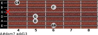 A#dom7(add13) for guitar on frets 6, 5, 5, x, 6, 4