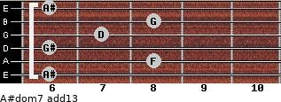 A#dom7(add13) for guitar on frets 6, 8, 6, 7, 8, 6