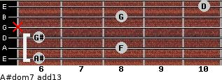 A#dom7(add13) for guitar on frets 6, 8, 6, x, 8, 10