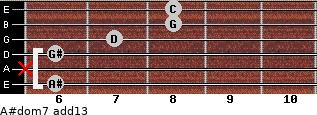 A#dom7(add13) for guitar on frets 6, x, 6, 7, 8, 8