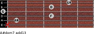 A#dom7(add13) for guitar on frets x, 1, 3, 0, 3, 4