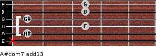 A#dom7(add13) for guitar on frets x, 1, 3, 1, 3, 3