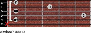 A#dom7(add13) for guitar on frets x, 1, 5, 1, 3, 1