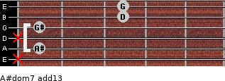 A#dom7(add13) for guitar on frets x, 1, x, 1, 3, 3