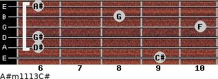 A#m11/13/C# for guitar on frets 9, 6, 6, 10, 8, 6