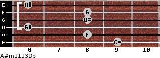 A#m11/13/Db for guitar on frets 9, 8, 6, 8, 8, 6