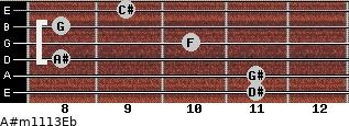 A#m11/13/Eb for guitar on frets 11, 11, 8, 10, 8, 9