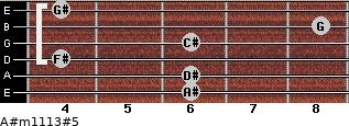 A#m11/13#5 for guitar on frets 6, 6, 4, 6, 8, 4