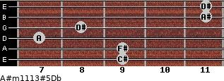 A#m11\13#5\Db for guitar on frets 9, 9, 7, 8, 11, 11