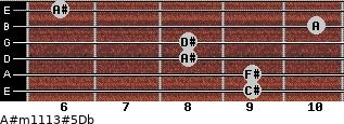 A#m11\13#5\Db for guitar on frets 9, 9, 8, 8, 10, 6
