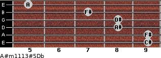 A#m11\13#5\Db for guitar on frets 9, 9, 8, 8, 7, 5