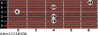 A#m11\13#5\Db for guitar on frets x, 4, 4, 2, 4, 6