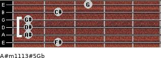 A#m11/13#5/Gb for guitar on frets 2, 1, 1, 1, 2, 3
