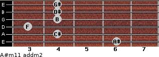 A#m11 add(m2) for guitar on frets 6, 4, 3, 4, 4, 4