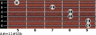 A#m11#5\Db for guitar on frets 9, 9, 8, 8, 7, 5
