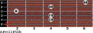 A#m11#5\Db for guitar on frets x, 4, 4, 2, 4, 6