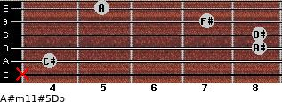 A#m11#5\Db for guitar on frets x, 4, 8, 8, 7, 5