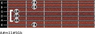 A#m11#5/Gb for guitar on frets 2, 1, 1, 1, 2, 2
