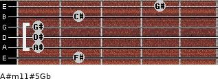 A#m11#5/Gb for guitar on frets 2, 1, 1, 1, 2, 4