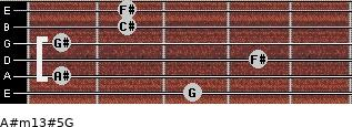 A#m13#5/G for guitar on frets 3, 1, 4, 1, 2, 2