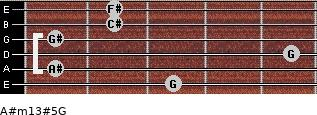 A#m13#5/G for guitar on frets 3, 1, 5, 1, 2, 2