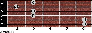 A#m6/11 for guitar on frets 6, 6, 3, 3, 2, 3