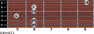 A#m6/11 for guitar on frets 6, 6, 5, 6, 6, 9