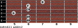 A#m6/11 add(m2) for guitar on frets 6, 6, 5, 6, 6, 7