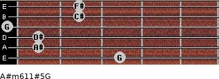 A#m6/11#5/G for guitar on frets 3, 1, 1, 0, 2, 2