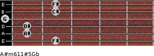 A#m6/11#5/Gb for guitar on frets 2, 1, 1, 0, 2, 2