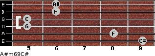 A#m6/9/C# for guitar on frets 9, 8, 5, 5, 6, 6
