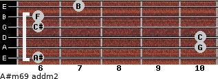 A#m6/9 add(m2) for guitar on frets 6, 10, 10, 6, 6, 7