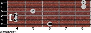 A#m6/9#5 for guitar on frets 6, 4, 4, 5, 8, 8