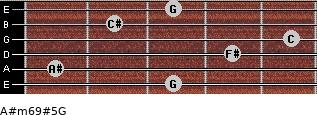 A#m6/9#5/G for guitar on frets 3, 1, 4, 5, 2, 3