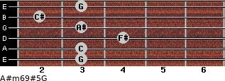 A#m6/9#5/G for guitar on frets 3, 3, 4, 3, 2, 3