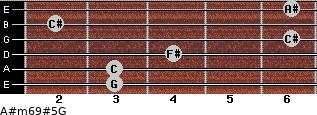 A#m6/9#5/G for guitar on frets 3, 3, 4, 6, 2, 6