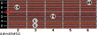 A#m6/9#5/G for guitar on frets 3, 3, 4, x, 2, 6