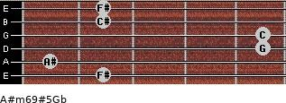 A#m6/9#5/Gb for guitar on frets 2, 1, 5, 5, 2, 2