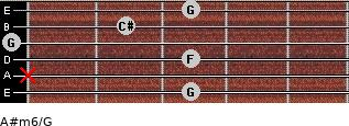A#m6/G for guitar on frets 3, x, 3, 0, 2, 3