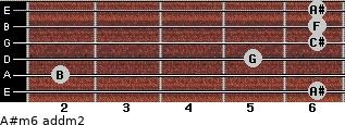 A#m6 add(m2) for guitar on frets 6, 2, 5, 6, 6, 6