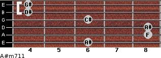 A#m7/11 for guitar on frets 6, 8, 8, 6, 4, 4