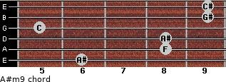 A#m9 for guitar on frets 6, 8, 8, 5, 9, 9