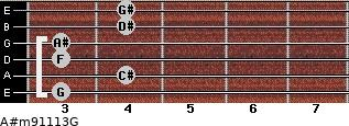 A#m9/11/13/G for guitar on frets 3, 4, 3, 3, 4, 4
